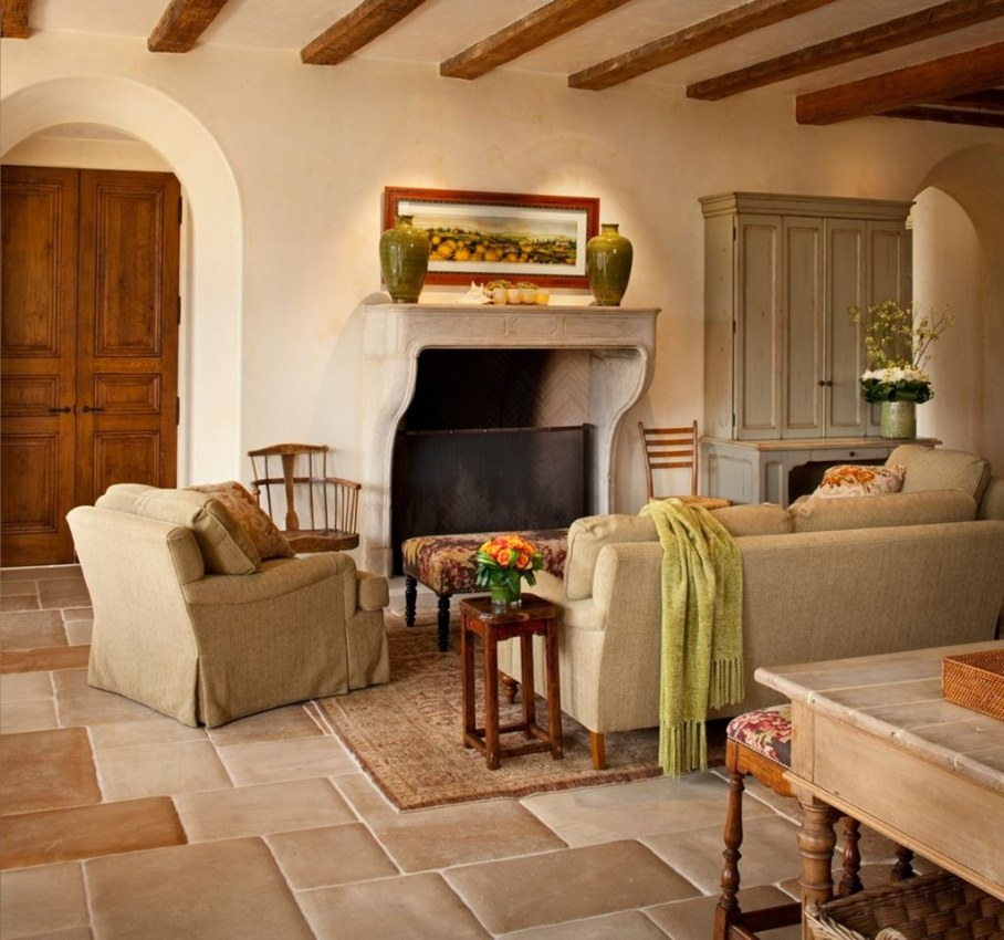 Mediterranean-Style living room design - The floor is tiled with ceramics