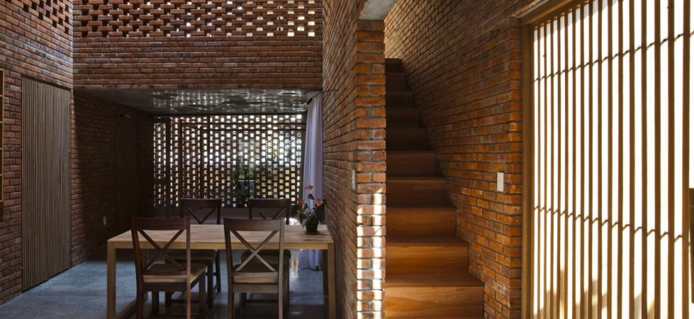 """Brick"" interior of the house in coastal city of Vietnam"