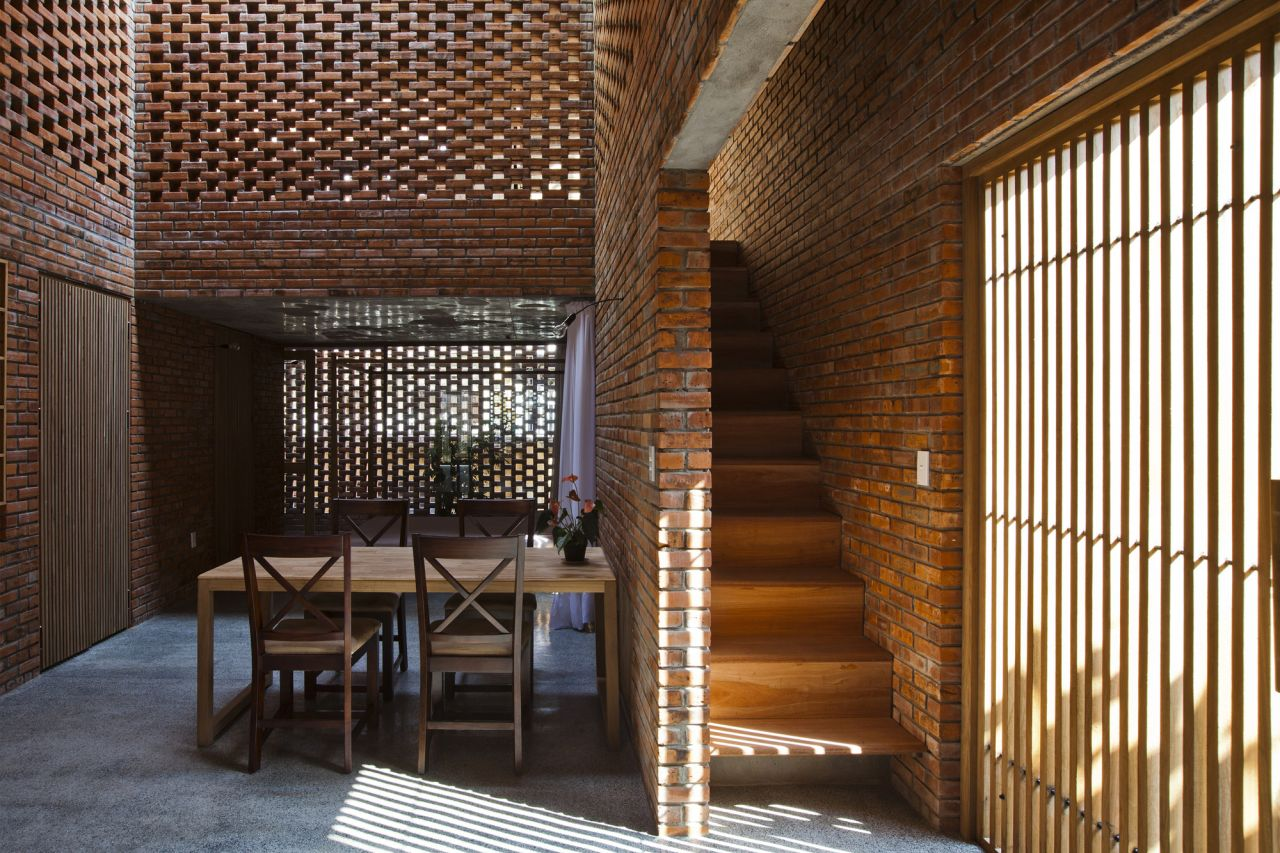 Brick interior of the house in coastal city of vietnam Design interior of house