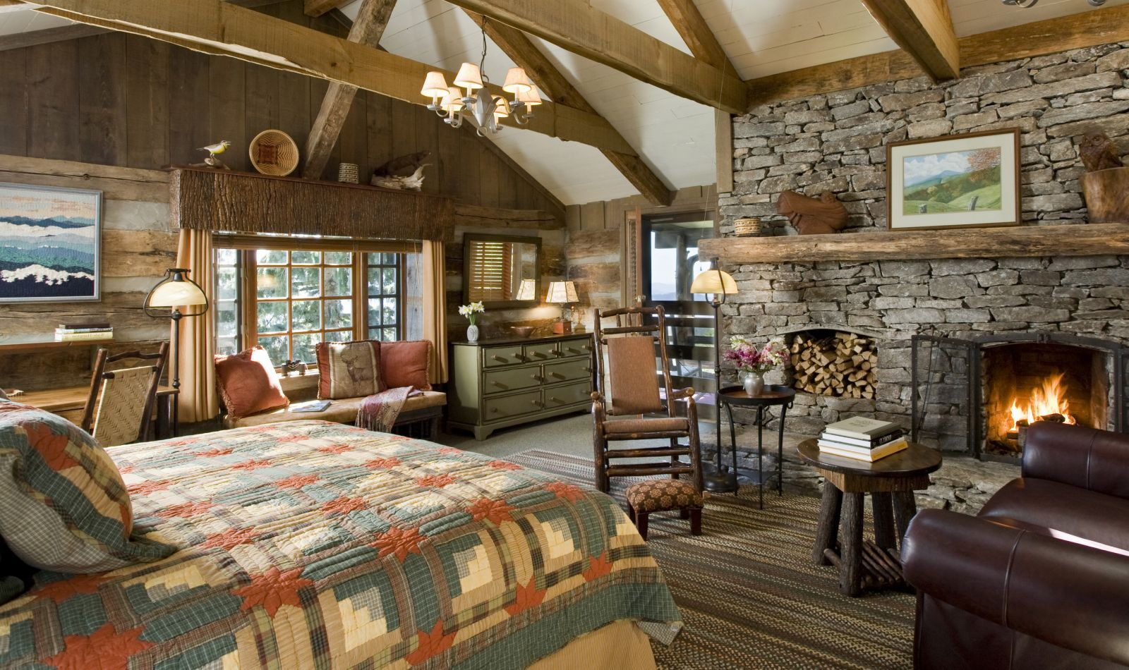 Country style interior for Bedroom ideas with fireplace