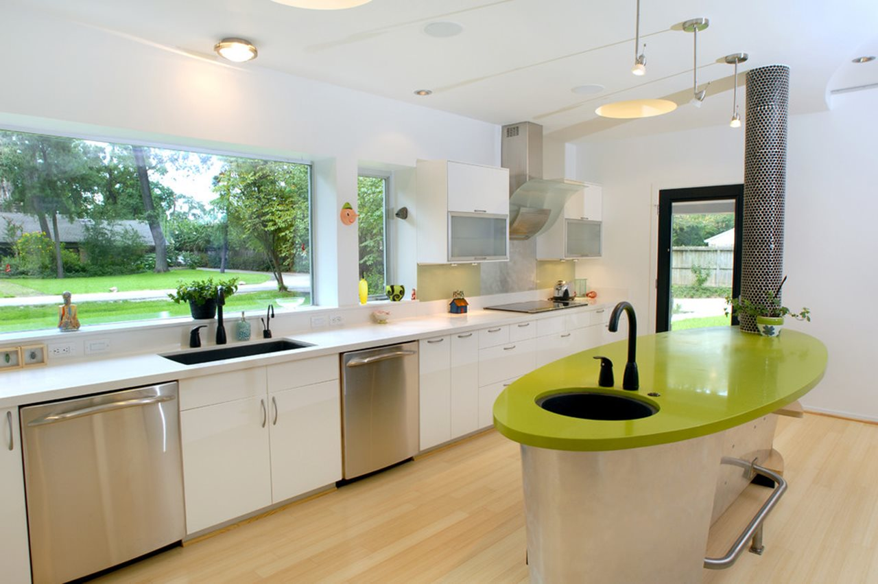 High Tech Kitchen design Bright Colors Against the Neutral Backdrop