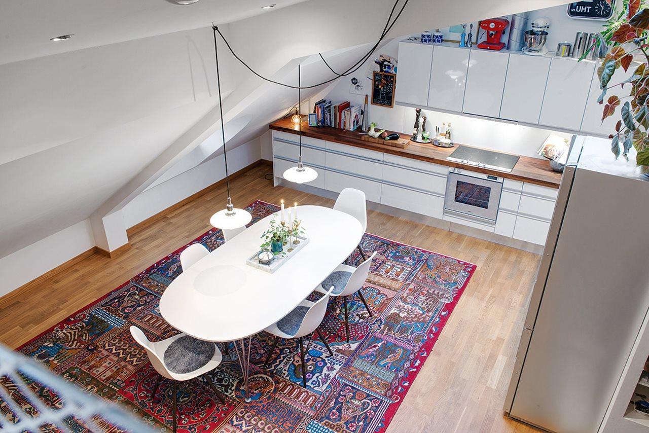 Modern attic apartment in the scandinavian style for Modern attic design