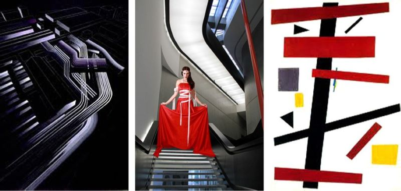 Suprematism in three movements art, fashion and architecture.