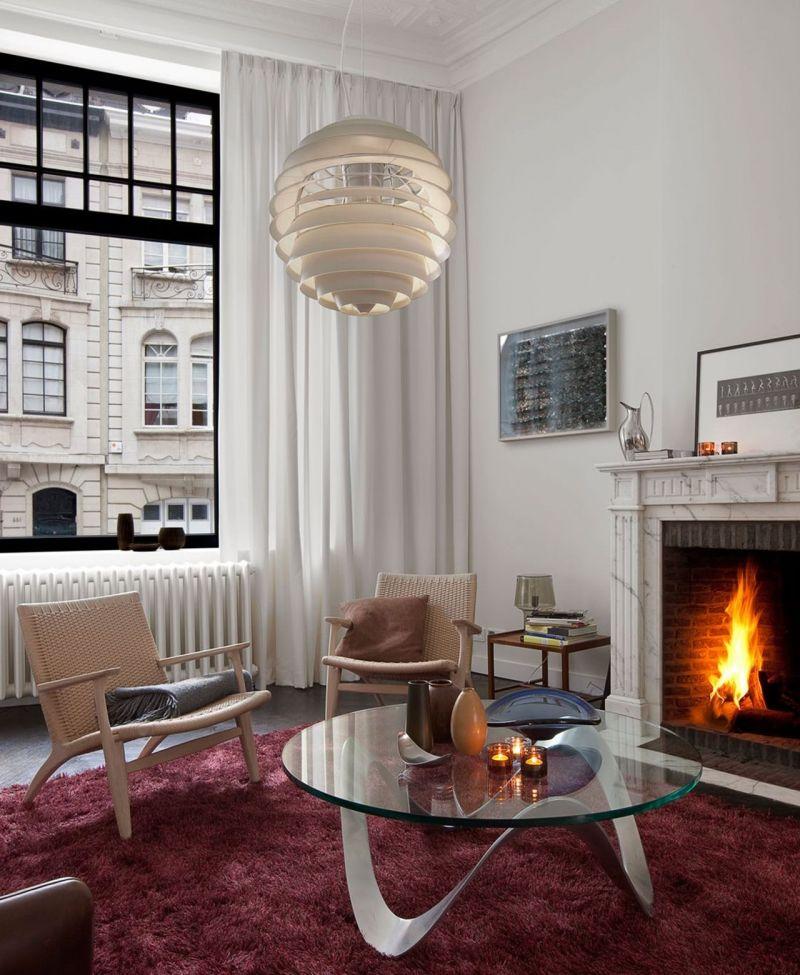 Art nouveau interior design living room with fireplace for Art nouveau decorating ideas