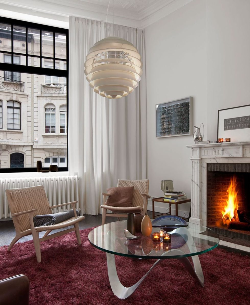 Art Nouveau interior design Living room with fireplace