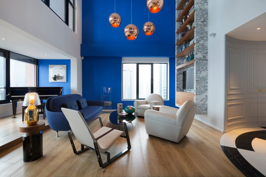 Blue Penthouse Living room