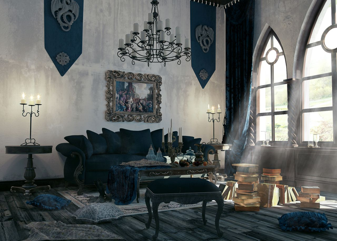 Gothic style interior design ideas for Interior design curtains