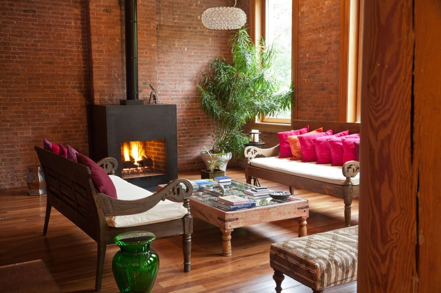 Loft Style interior design - Living  room with Fireplace