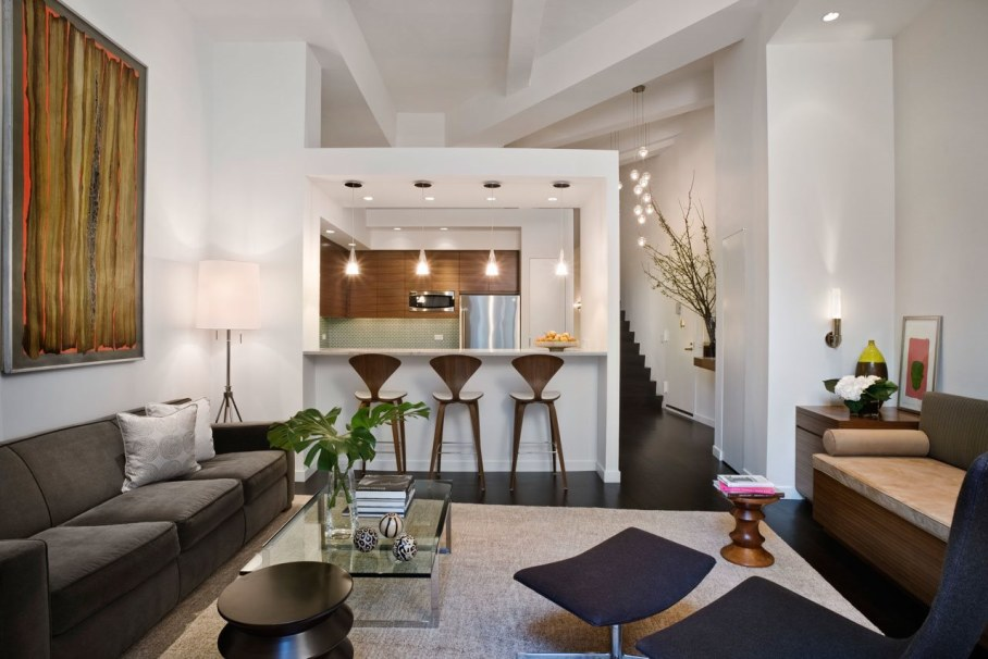Room new york loft style interior design