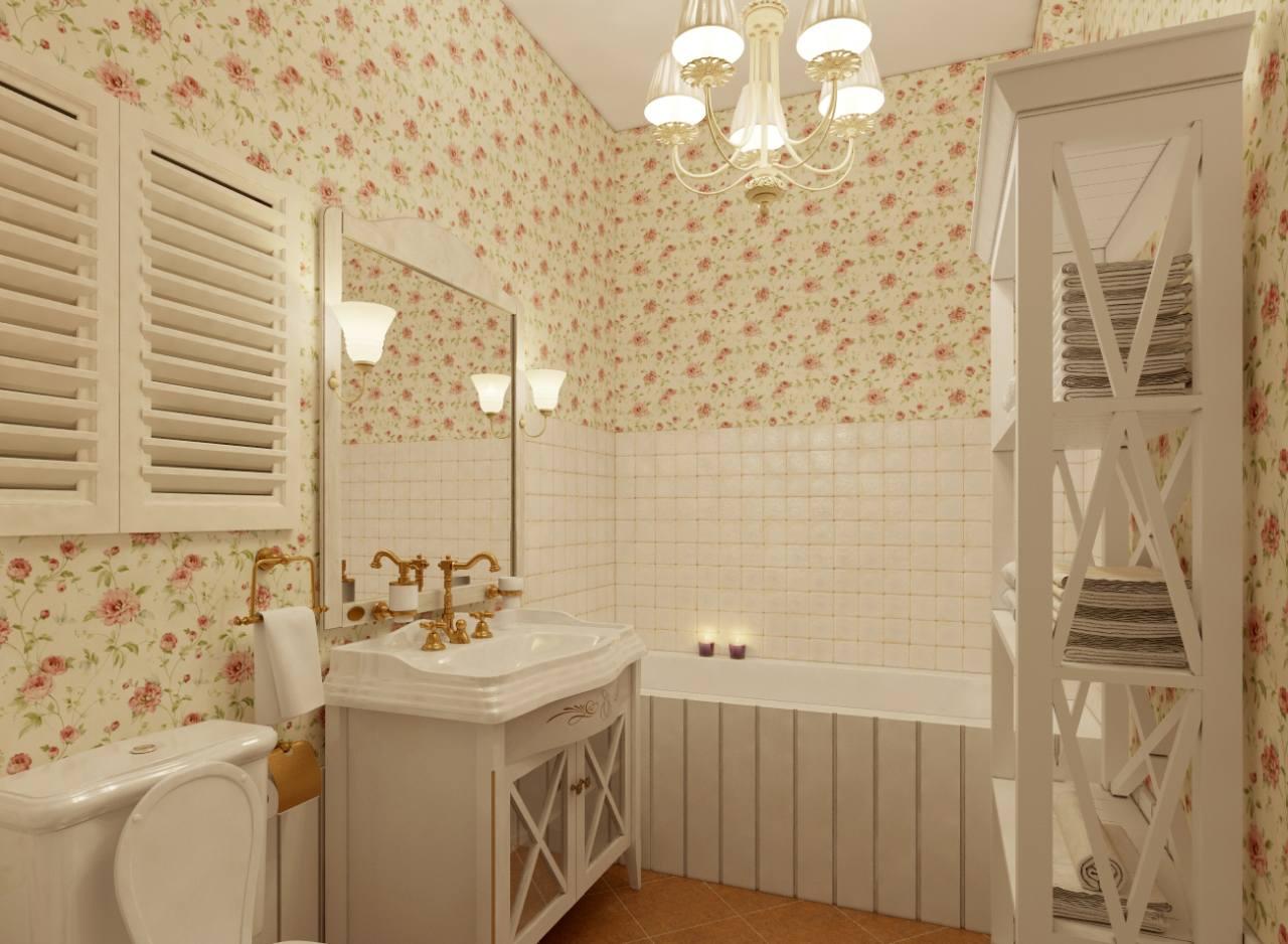 Provence style interior bathroom