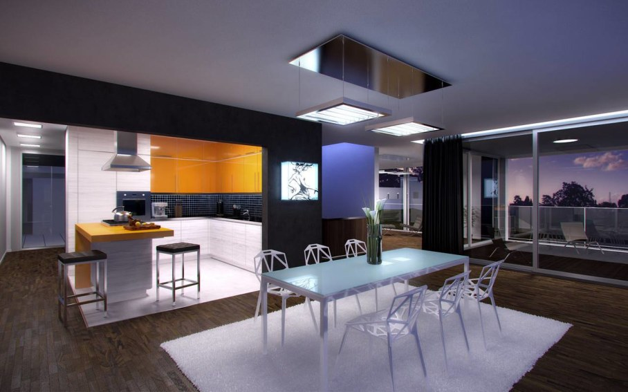 Techno Style Interior design - Kitchen and dining room