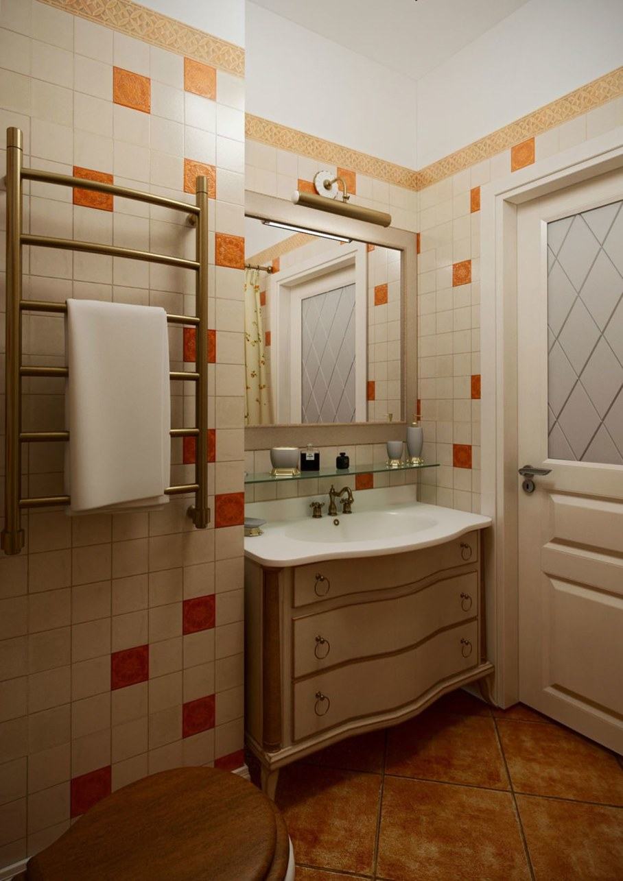 Apartment interior design in the Provence style - Bathroom