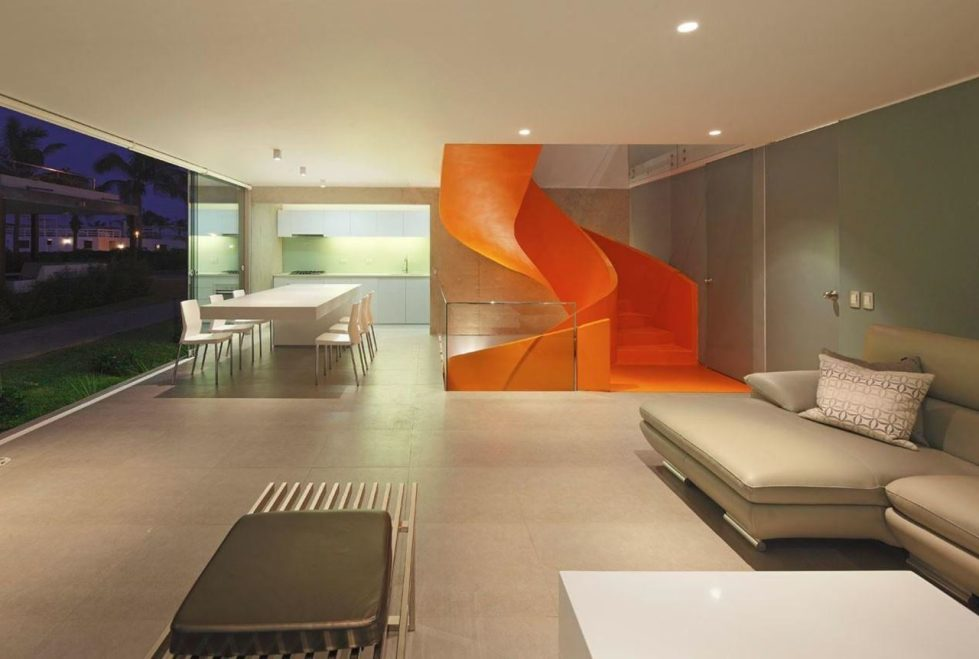 Attractive Open-Terraced House with Orange Staircase