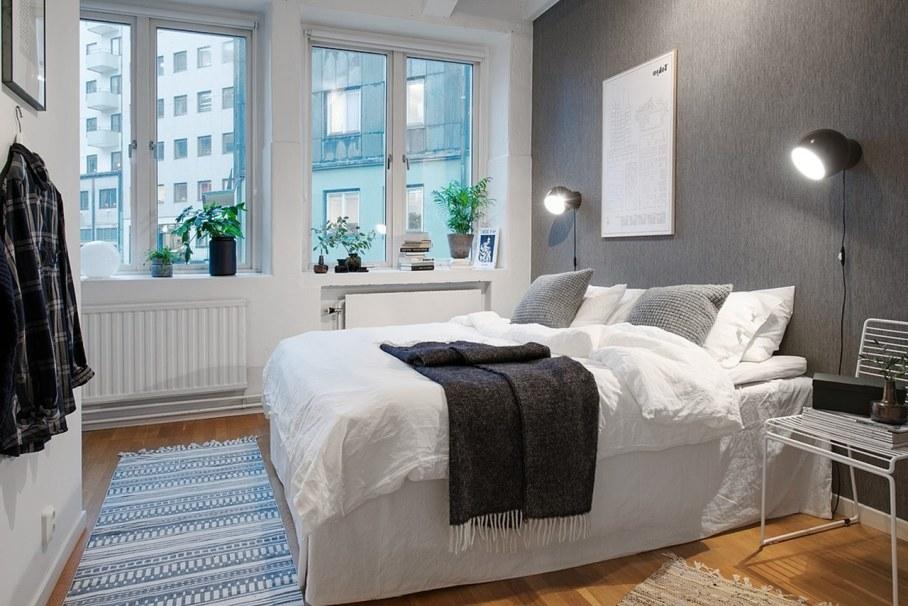 Bedroom design in Scandinavian style - Clarity of lines shapes colors flooring