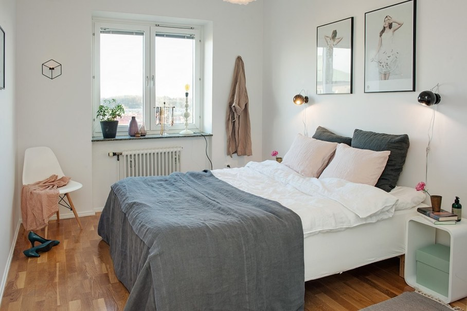 Bedroom design in Scandinavian style - Wall color - preferably white