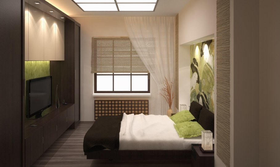 Bedroom in Japanese style - Soft glow resembling the moonlit the play of light and shadows