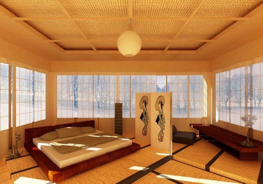 Bedroom in Japanese style - The floor should be pleasant for bare feet smooth and warm