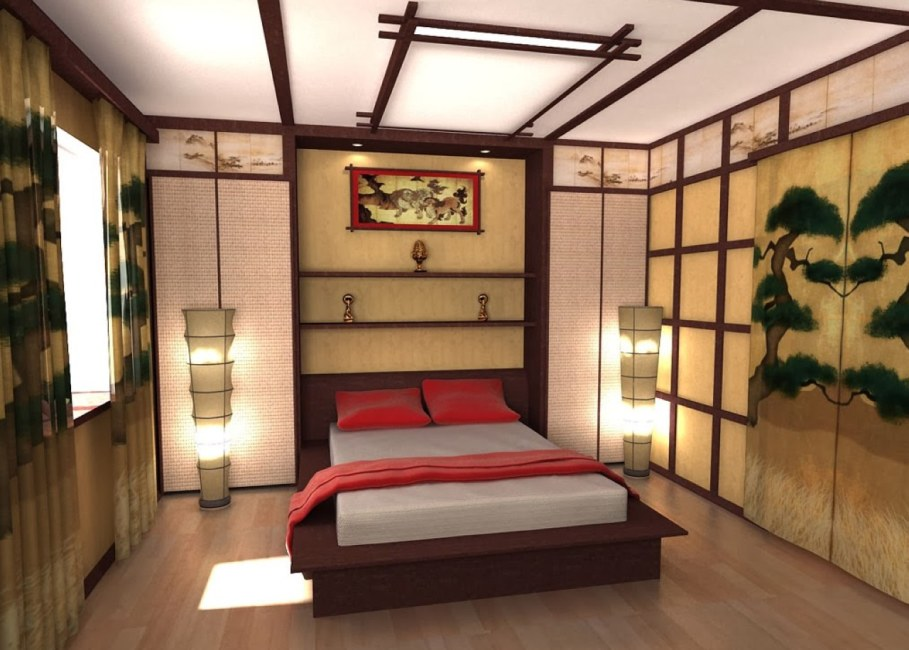 Bedroom in Japanese style - With unique ceiling and wooden floor