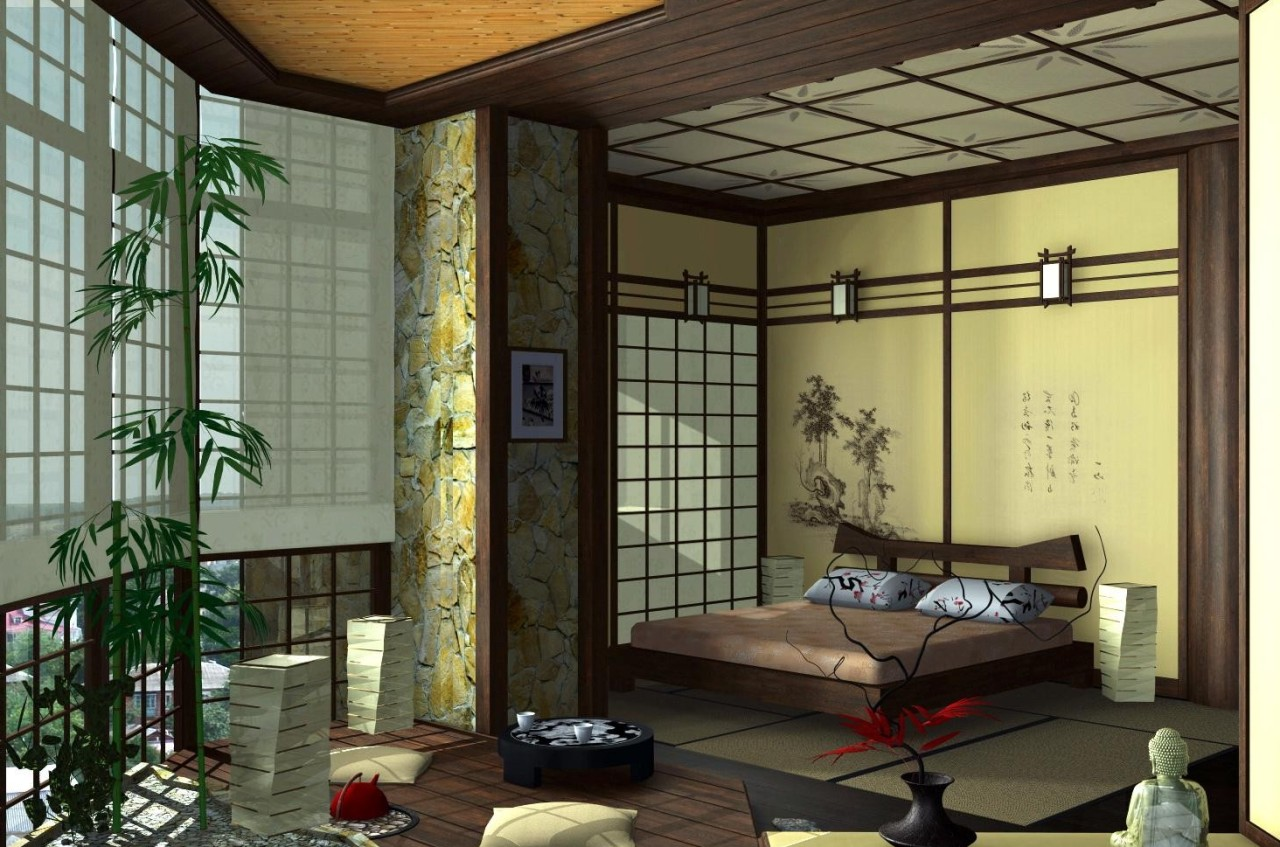 Bedroom in japanese style for Living room design japanese style