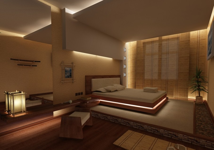 Bedroom in Japanese style - only natural materials and furniture
