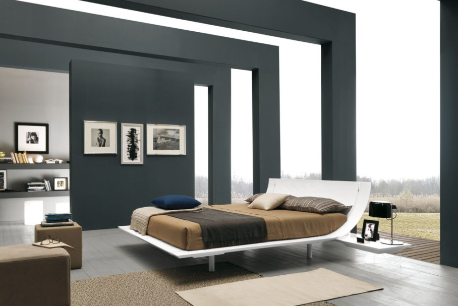 Bedroom interior in the modern style - Palette often contains white black colors and neutral shades