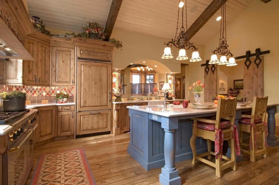Country style kitchen - lighting ideas