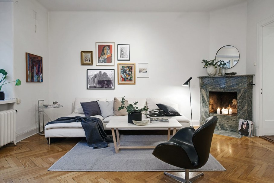 Goteborg's Apartment - parquet floors and whitewashed walls