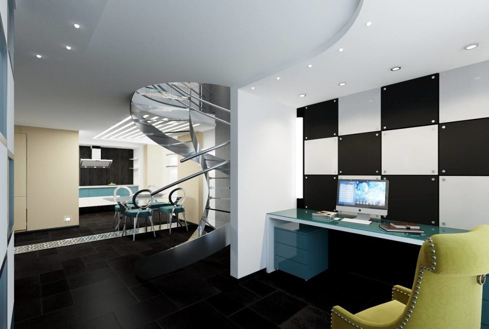 High-Tech Style Living room with spiral staircase