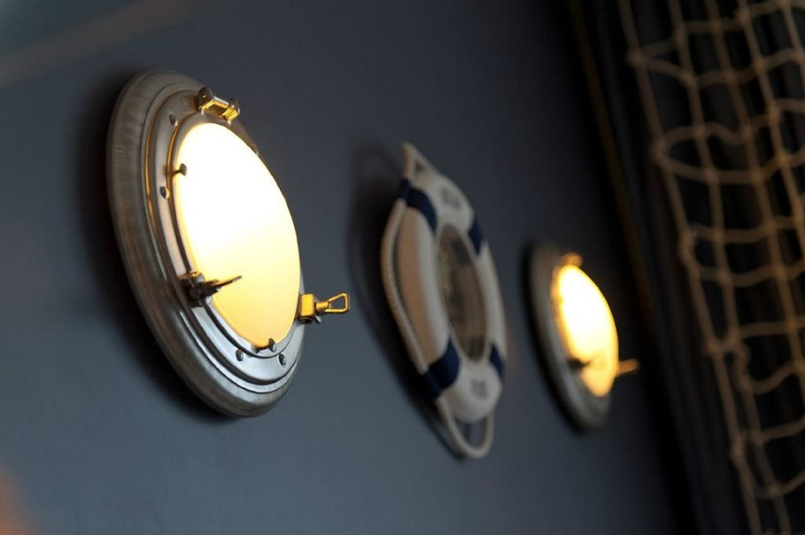 Lights in the shape of of portholes