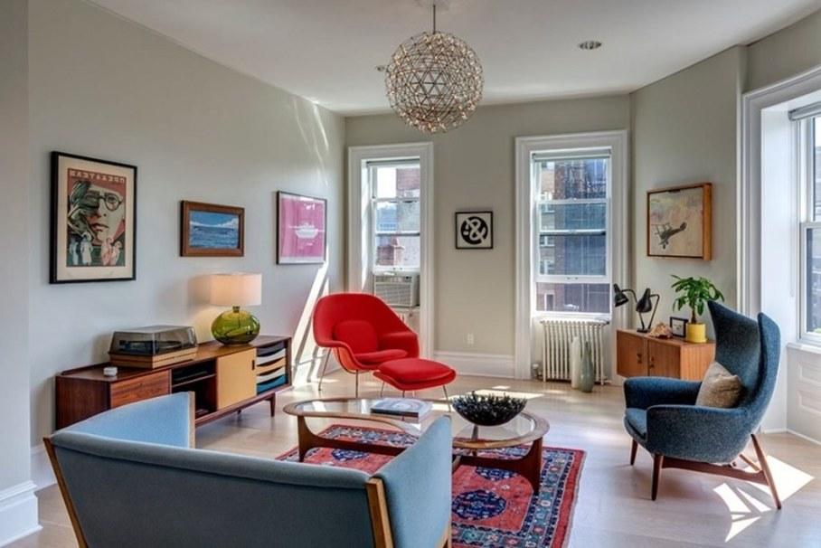 Living room design in a retro style