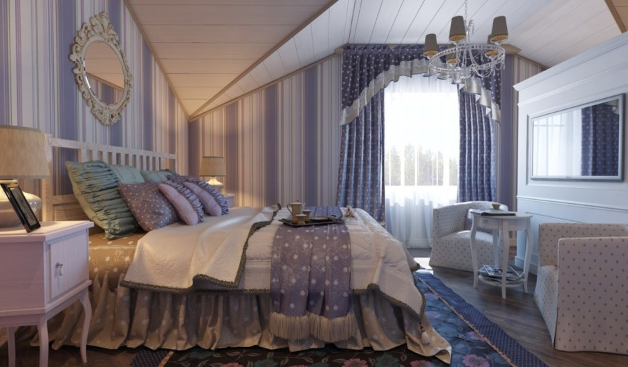 Provence style bedroom - Empty walls must be filled with small paintings and mirrors in tracery frames