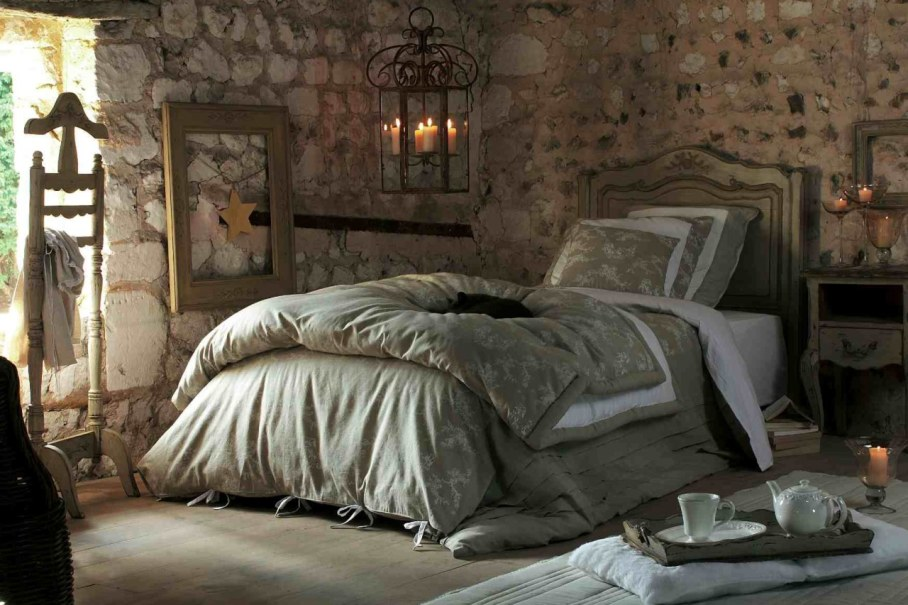 Provence style bedroom - walls are slightly plastered