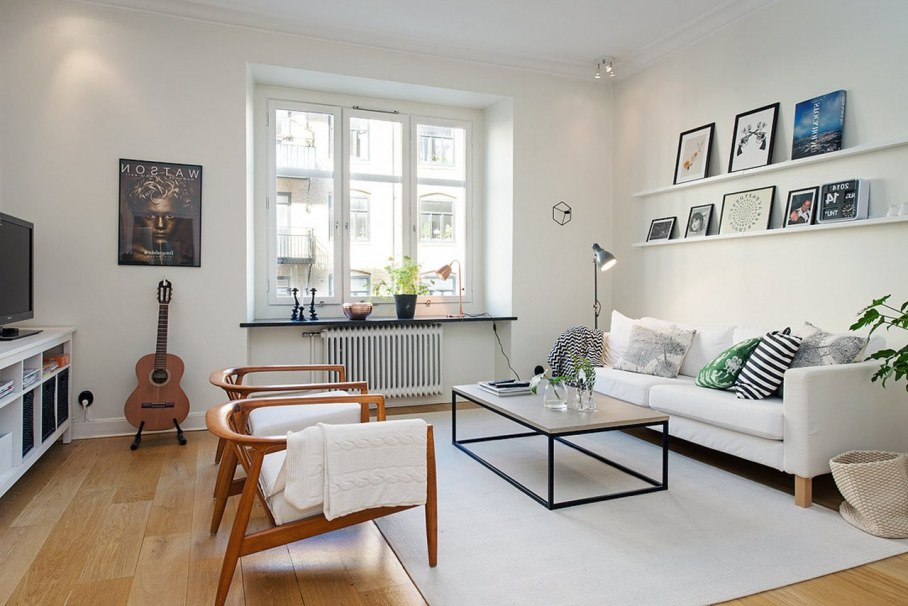 Scandinavian style interior design - A small number of colors - For accents it is used textile