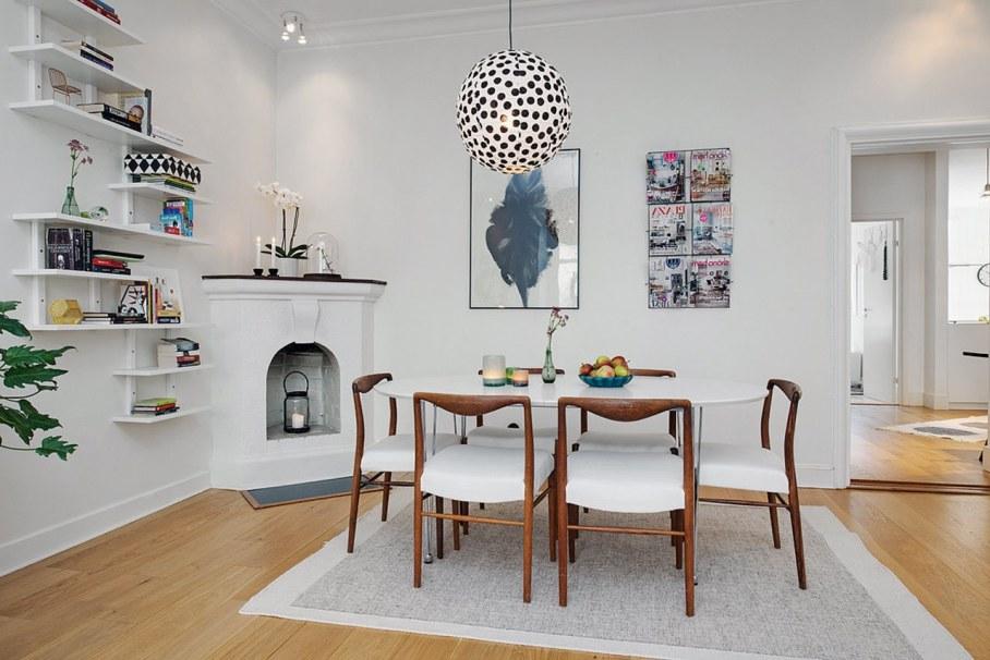 Scandinavian style interior design - fireplace