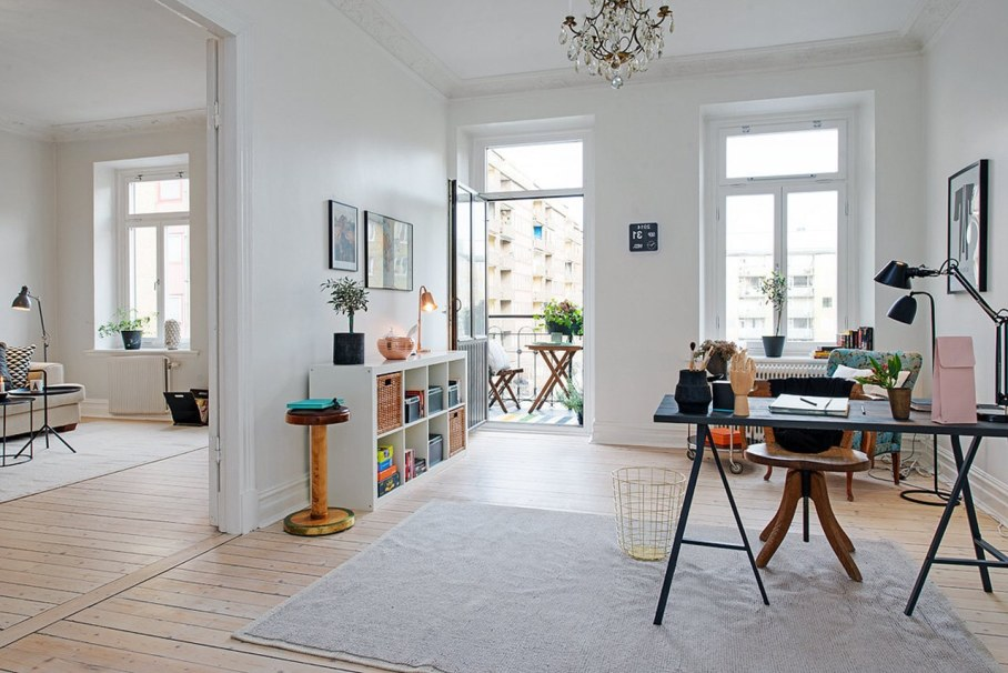 Scandinavian style interior design - furniture in the room and it should not close the walls and clutter up the floor