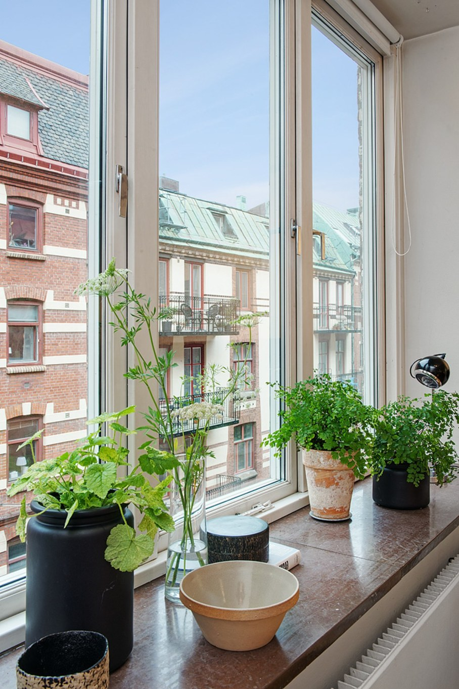 Scandinavian style interior design - large number of plants and flowers in pots