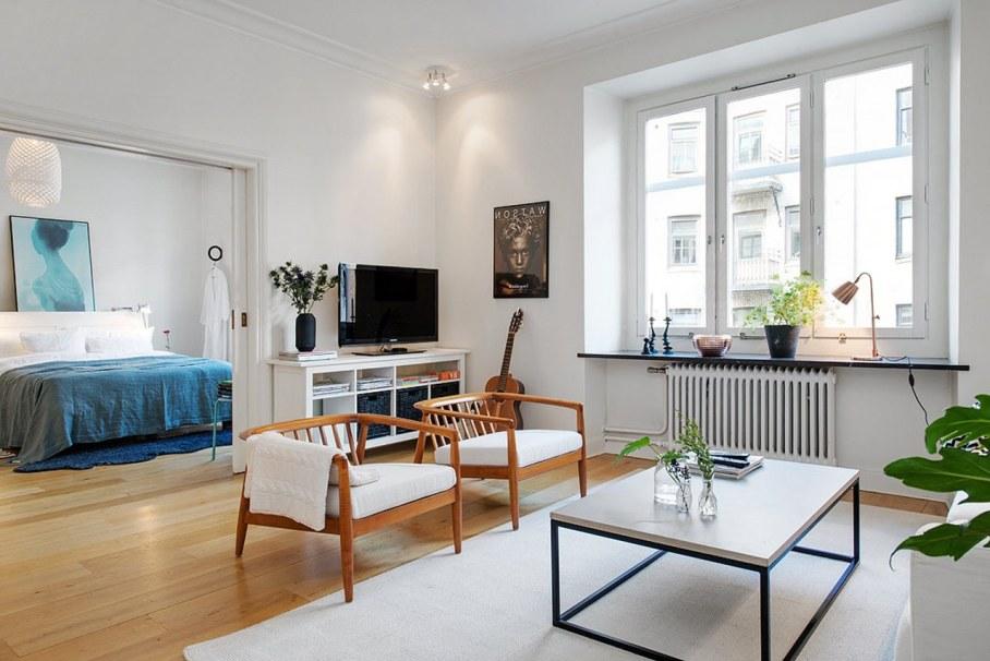 Scandinavian style interior design - living room and bedroom