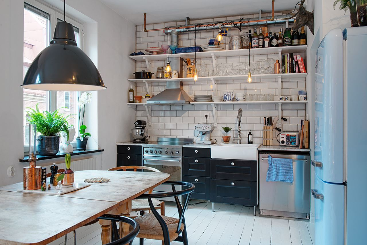 Elegant Small Swedish Apartment Kitchen In Scandinavian Style Loft