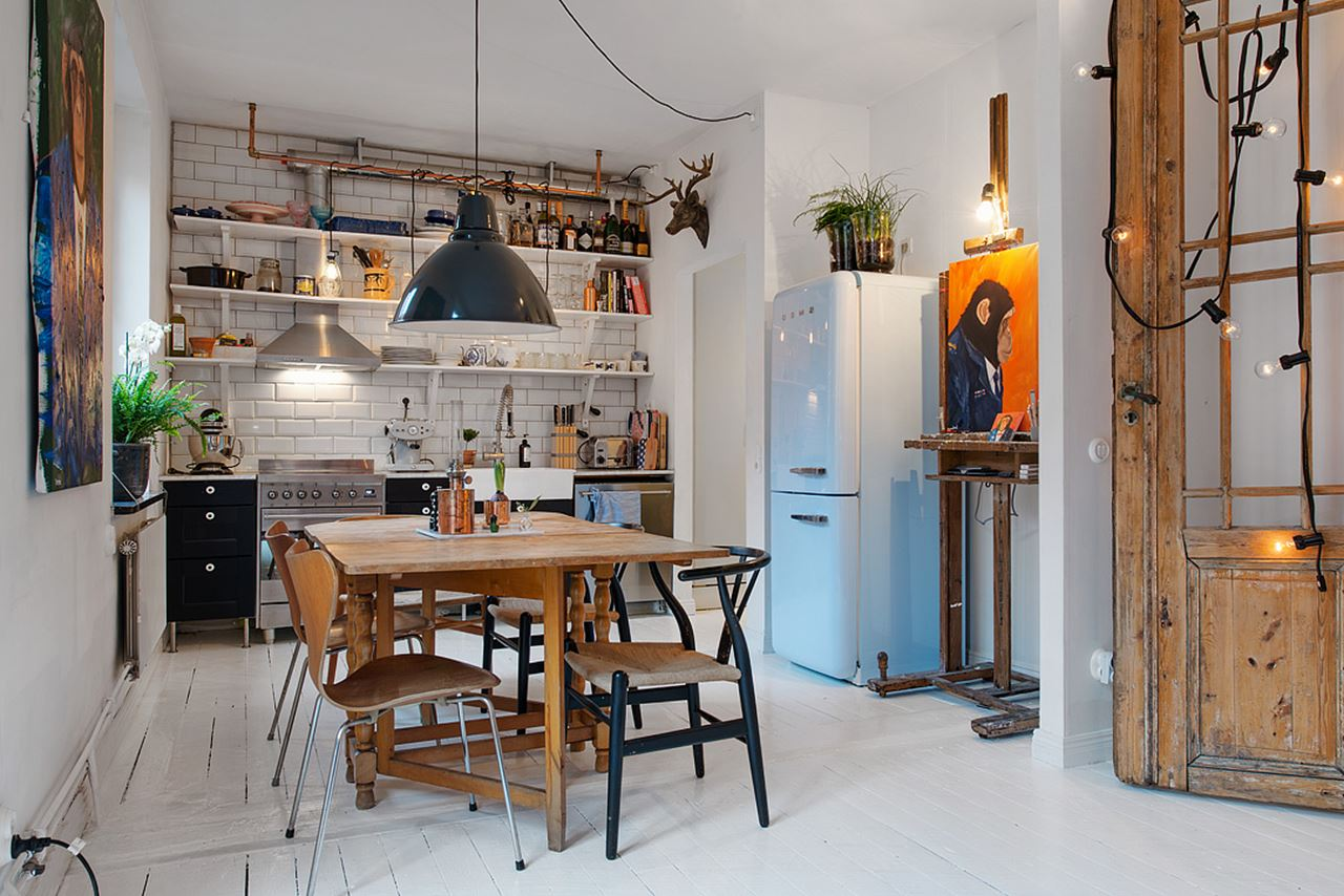 & Small Swedish Apartment as an Example of Scandinavian Style