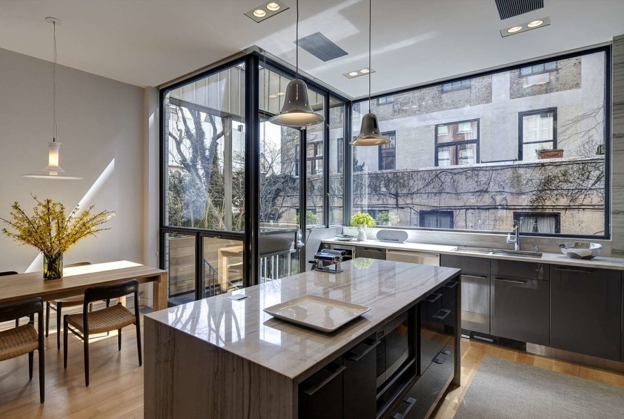 Stylish Townhouse Interior in New York - glass anf marble