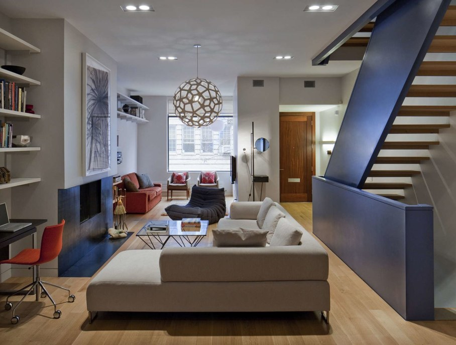 cool townhouse living room design | Stylish Townhouse Interior in New York