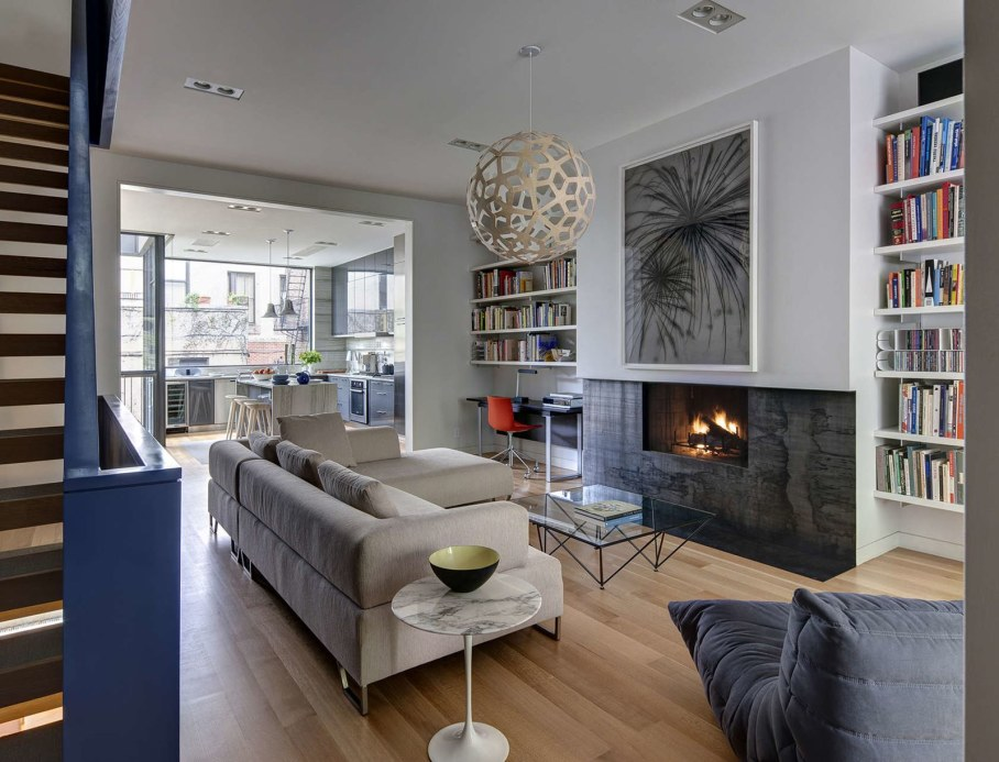 Stylish Townhouse Interior in New York - living room with fireplace
