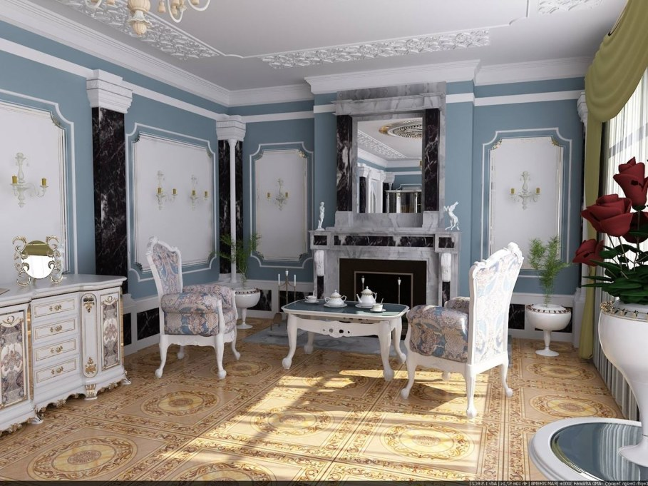 The Rococo Style - Living room with Fireplace