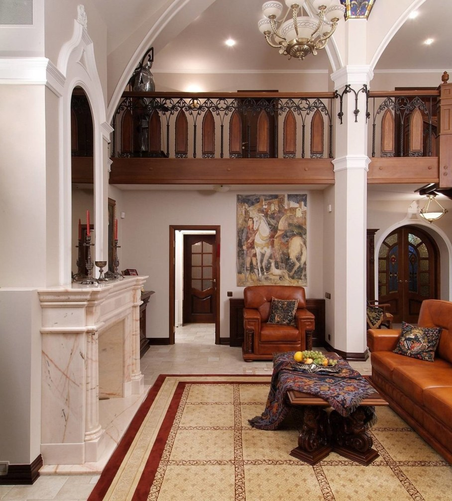 The Romanesque Style - Living room with fireplace