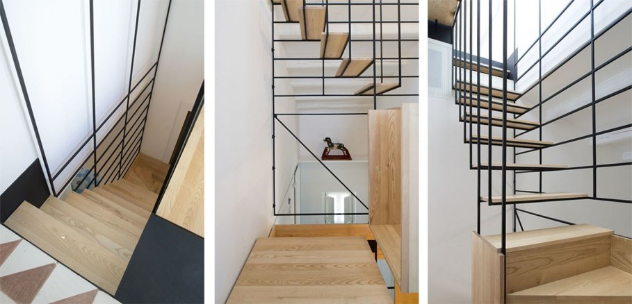 The Stylish Staircase Made of Metal Framework and Wooden Panels 2