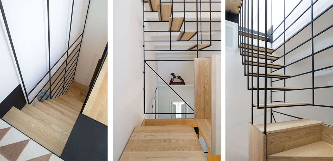 The Stylish Staircase Made Of Metal Framework And Wooden