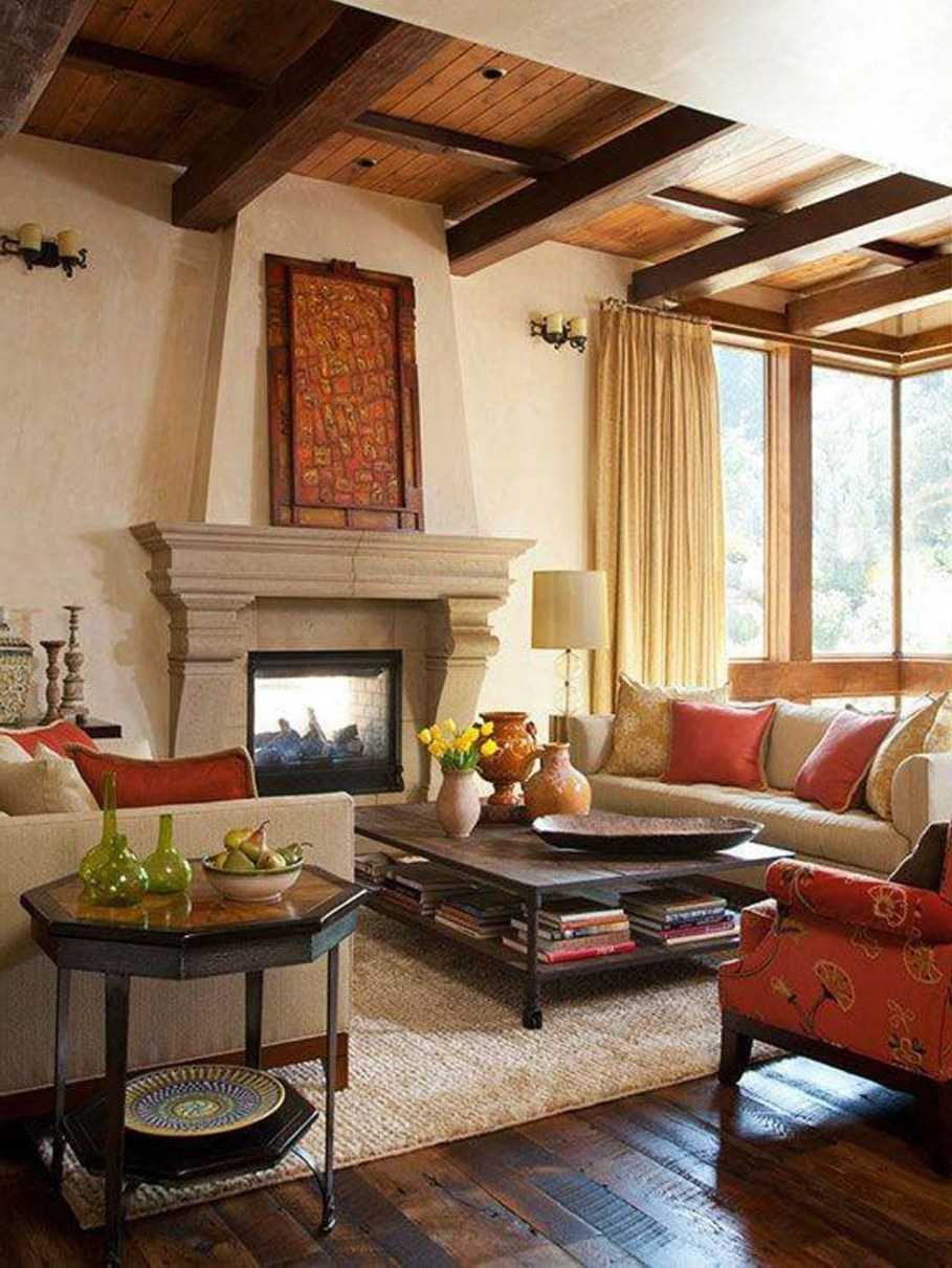 Tuscan living room with fireplace - design ideas
