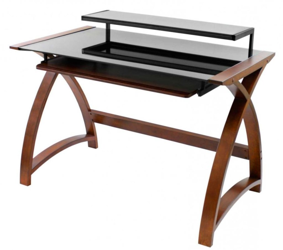 Wood and glass computer desk