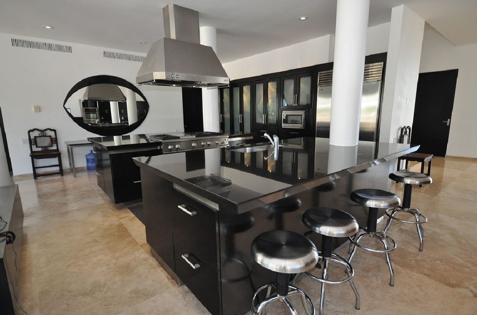 apartments-design-kitchen-island-ebony-glass-and-stainless-steel