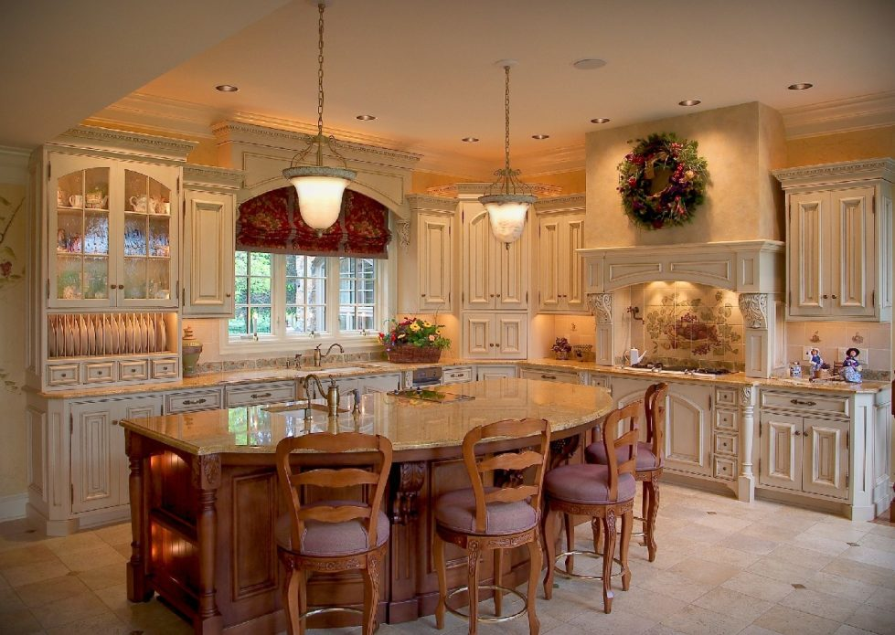 apartments-design-kitchen-island-marble-wood-carving-bronze